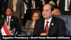 """FILE - Egyptian President Abdel Fattah el-Sissi, pictured at an Arab League summit in March, says the agreement to create a free-trade zone uniting three existing blocs represents a """"decisive point in the history of African economic integration."""""""