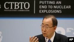 Sekretaris Jenderal PBB Ban Ki-moon di Wina, Austria (27/4).