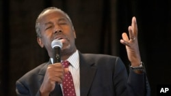 Republican presidential candidate Ben Carson speaks in St. Louis, Missouri, Sept. 11, 2015.