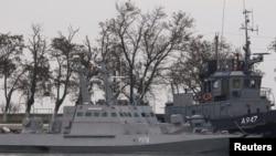 Один із захоплених Росією українських бойових катерів у порту Керч 26 листопада 2018 р.