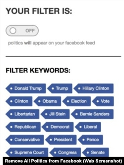 Remove All Politics from Facebook Keywords