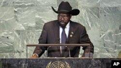 O presidente do Sudão do Sul, Salva Kiir, falando perante a Assembleia-Geral da ONU, em Setembro de 2011.