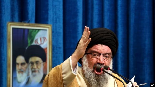 FILE - Iranian senior cleric Ahmad Khatami delivers his sermon during Friday prayer ceremony in Tehran, Iran, Jan. 5, 2018.