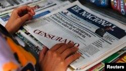 Primera plana de El Nacional anunciando que el gobierno había prohibido la publicación de fotos y noticias sobre la violencia.