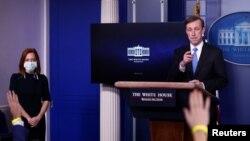 Jake Sullivan, savjetnik Bijele kuće za nacionalnu bezbjednost, tokom brifinga sa novinarima. (REUTERS/Tom Brenner)