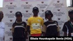 Abdoul Aziz Nikiéma, maillot jaune à l'issue de la 2e étape du tour du Bénin, 11 mai 2017. (VOA/Elisée Hounkapatin Sonia)