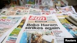 尼日利亞報紙報道博科聖地激進組織綁架婦女(2014年6月)