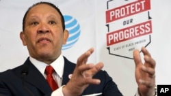 "National Urban League CEO Marc Morial speaks about the ""2017 State of Black America"" report at the National Urban League in Washington, May 2, 2017."
