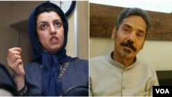 نرگس محمدی فعال حقوق بشر و عبدالفتاح سلطانی وکیل دادگستری