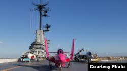 El USS Lexington escogió un avión de combate para apoyar a todos los que han luchado y a los que luchan contra el cáncer.