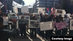 FILE - Cambodian-Americans in California held a protest in Sacramento,California. (Courtesy: Song Yoeng Ratana)