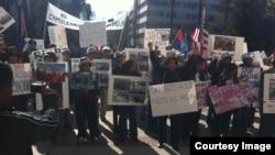 FILE - Cambodian-Americans in California held a protest in Sacramento,California. (Courtesy: Song Yoeng Ratana)