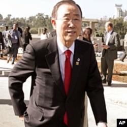 U.N. Secretary-General Ban Ki-moon arrives for the 18th African Union (AU) Summit in Ethiopia's capital Addis Ababa, January 29, 2012