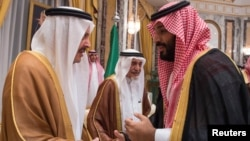 Saudi Arabia's Crown Prince Mohammed bin Salman, right, shakes hands with a member of the royal family during an allegiance pledging ceremony in Mecca, Saudi Arabia June 21, 2017.