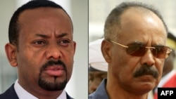 This combination of file pictures Ethiopian Prime Minister Abiy Ahmed, left, in Entebbe, Uganda, June 8, 2018 and Eritrean President Isaias Afwerki reviewing the honor guard during his welcome ceremony in the Khartoum, Sudan, June 11, 2015.