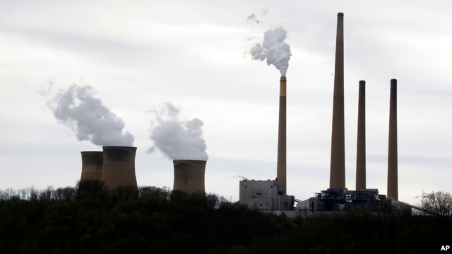 FILE - A photo taken May 5, 2014 shows the stacks of the Homer City Generating Station in Homer City, Pennsylvania.