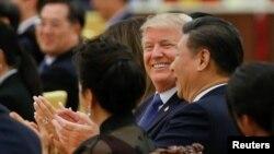 美國總統川普與中國國家主席習近平2017年11月9日資料照。