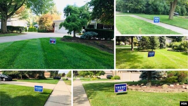 Những tấm bảng thể hiện sự ủng hộ liên danh tranh cử Trump-Pence trong một số khu dân ở Warren và Sterling Heights, Michigan