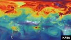 این عکس ناسا تراکم گازهای گلخانه ای را نشان می دهد.