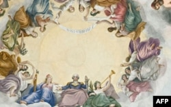 """Detail from """"The Apotheosis of Washington"""" which shows President George Washington rising to heaven in the center of the Capitol Rotunda."""