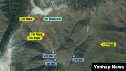 한국 국방부가 지난해 9월 공개한 북한 풍계리 핵실험장 주변 위성 사진. 지난 5차례의 핵실험 지점과, 지하갱도 입구 위치가 표시돼있다.