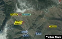 한국 국방부가 공개한 북한 풍계리 핵실험장 위성 사진. 지난 5차례의 핵실험 지점과, 지하갱도 입구 위치가 표시돼있다. 한국 군은 핵실험장 3번 갱도에서 핵실험 준비를 마친 정황을 포착했다고 밝혔다.