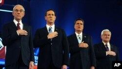 Saylovoldi kampaniyasiga millionlab dollar pul sarflanadi... Prezidentlikka respublikachi da'vogarlar, chapdan Ron Pol, Rik Santorum, Mitt Romni va Nyut Gingrich