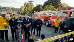 El alcalde Eric Garcetti habla durante una conferencia de prensa sobre el tiroteo en un supermercado Trader Joe's en el barrio Silver Lake de Los Ángeles, el 21 de julio de 2018.