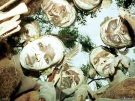 Ogiek warriors gather in a forest in western Kenya