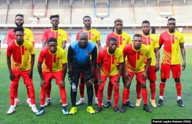 Les joueurs de Sanga Balende lors de la finale de la 56e finale de la Coupe du Congo, à Kinshasa, le 30 juin 2021.