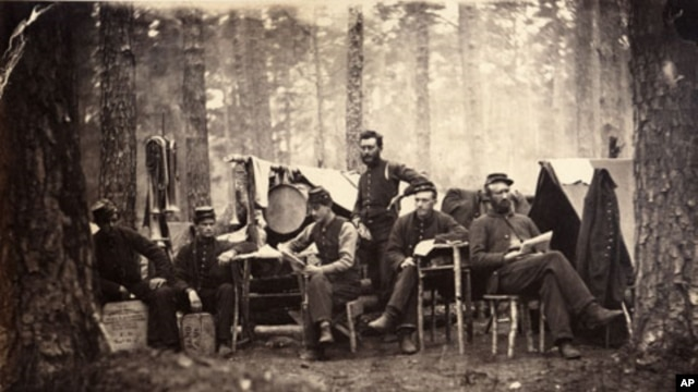 George Houghton's image of members of the 4th Vermont Regiment's band during the Civil War.