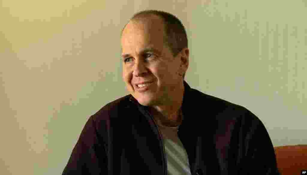 "Australian journalist Peter Greste speaks during an interview a day after his release from an Egyptian prison, saying that his freedom was something of a ""rebirth"" and that exercising, studying and meditating was key to his well-being while incarcerated, in Larnaca, Cyprus, Feb. 2, 2015."