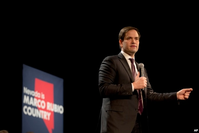 Republican presidential candidate Sen. Marco Rubio of Florida speaks at a rally in North Las Vegas, Nev., Feb. 21, 2016.