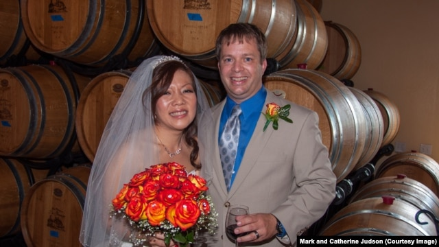 Taipei native Catherine Judson (née Chang) and Virginian Mark Judson at their wedding in Virginia, October 2013
