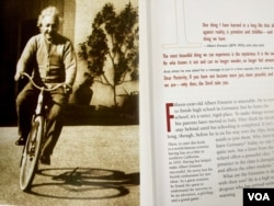 "Alongside a photo of Einstein on a bike, the text says, ""Having fun helped make Albert Einstein successful."""