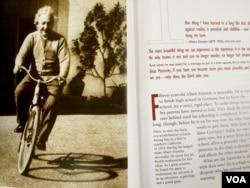 "Alongside a photo of Einstein on a bike, the text says, ""Having fun helped make Albert Einstein successful."""