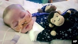 This is an undated photo of Charlie Gard provided by his family, taken at Great Ormond Street Hospital in London.