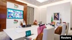 沙特阿拉伯的國王薩勒曼11月21日在第15屆G20峰會上致開幕辭。