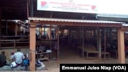Le nouvel espace commercial des vendeurs ambulants du marché mokolo,quasi vide de ses occupants, à Yaoundé, le 5 août 2017. (VOA/Emmanuel Jules Ntap)