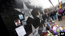 Prince's star adorns the wall at First Avenue as a memorial grew on April 21, 2016, in Minneapolis, where the pop super star Prince often performed.
