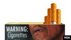 Jedna od fotografija koja će biti na kutijama cigareta je slika osobe koja puši preko rupe na vratu, prouzročene rakom disajnih organa