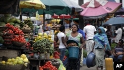 A food market in Lagos, Nigeria.