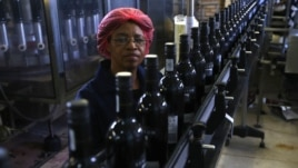 A worker checks the certification labels on wine bottles on a conveyor belt at the Rostberg bottling plant near Cape Town, November 29, 2012.