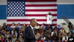 President Barack Obama speaks at Cuyahoga Community College, Thursday, June 14, 2012, in Cleveland.