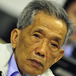 Kaing Guek Eav, also known as Comrade Duch, who ran the notorious Toul Sleng, a top secret detention center for the worst 'enemies' of the state, looks on during his appealing at the U.N.-backed war crimes tribunal in Phnom Penh, Cambodia, March 28, 2011