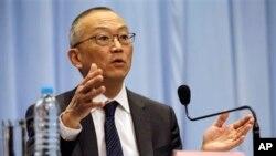 22일 중국 상하이에서 신종 독감과 관련해 기자 회견을 가진 후쿠다 케이지 WHO 사무차장.