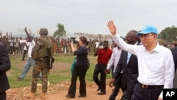 Sekjen PBB Ban Ki-moon di Bangui, Republik Afrika Tengah, Sabtu 5 April 2014.