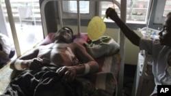 26일 버마 라카인주에서 벌어진 종교간 유혈충돌로 부상한 난민.