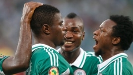 Nigeria soccar players celebrate a goal against Mali. Wednesday, 6th Febuary 2013 (Reuters)