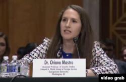 美国乔治城大学中国安全问题专家梅慧琳教授(Oriana Mastro)就美中关系在参议院作证(美国之音莉雅拍摄)。
